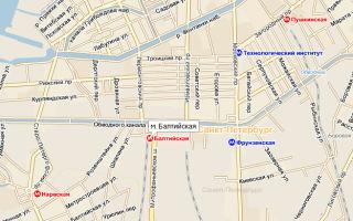 Балтийский вокзал в санкт-петербурге и станция метро на карте